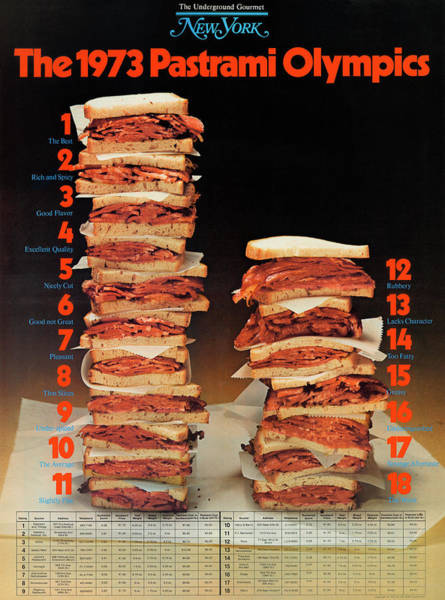 Poster featuring the photograph The 1973 Pastrami Olympics by New York Magazine