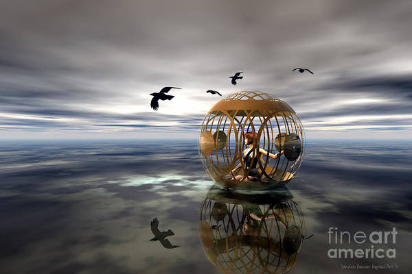Poster featuring the digital art The Birdcage by Sandra Bauser Digital Art