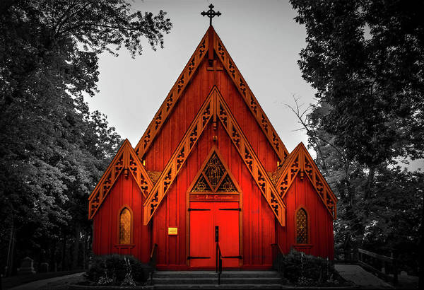 The Little Red Church In Black And White Poster