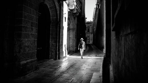 The Man With The Hat - Mdina, Malta - Black And White Street Photography Poster