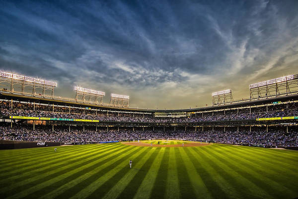 The New Wrigley Field With Pretty Sunset Sky Poster