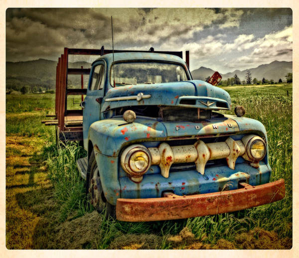 The Blue Classic Ford Truck Poster