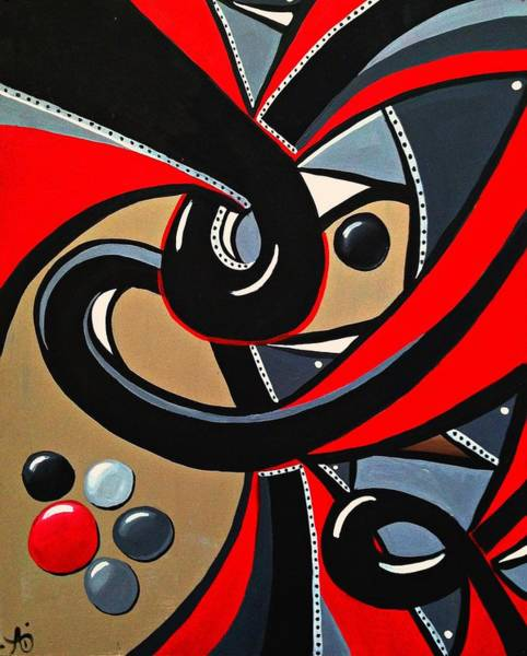 Red And Black Abstract Art Painting Poster