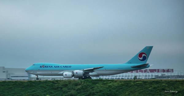 The Takeoff Korean Air Cargo 747 Airplane Art Poster