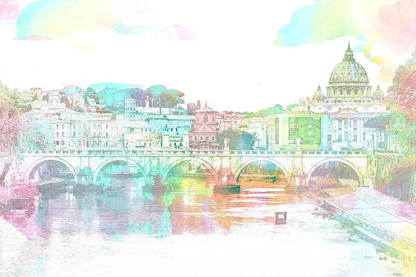 The View From Castel Sant'angelo Towards Ponte Sant'angelo, Brid Poster