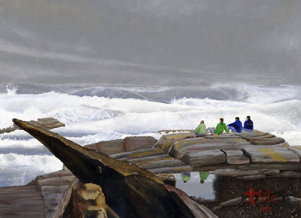 Poster featuring the painting The Wave Watchers by Dominic White