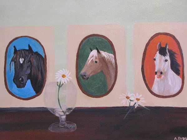 Three Horse Paintings Poster