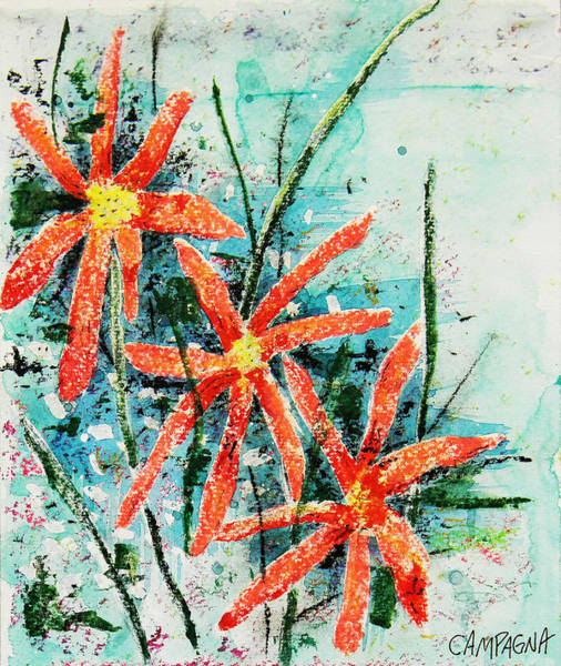 Poster featuring the painting Three Red Flowers by Teddy Campagna