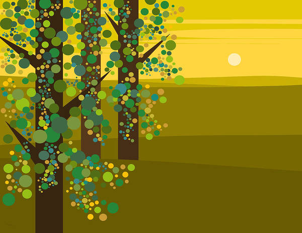 Three Trees In The Spring Poster