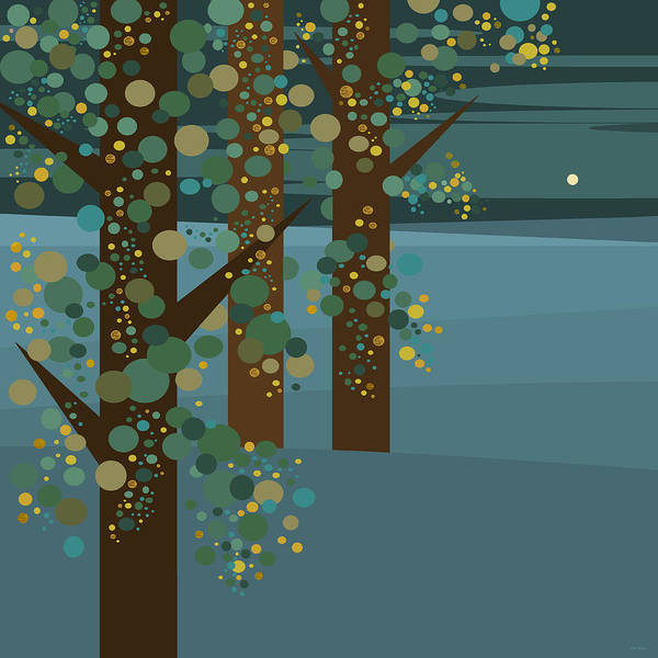 Three Trees With Gold Poster