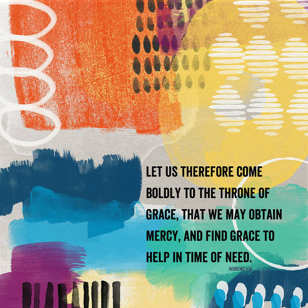 Throne Of Grace- Contemporary Christian Art By Linda Woods. Poster