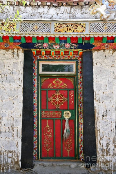 Poster featuring the photograph Tibet Red Door by Kate McKenna