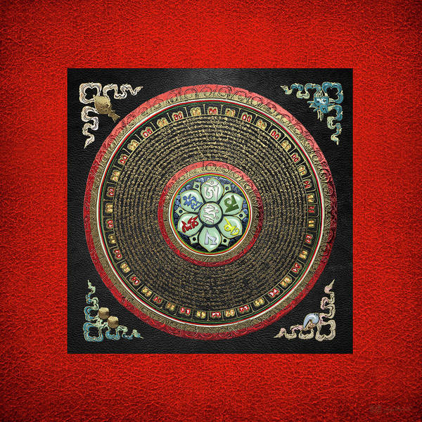 Tibetan Om Mantra Mandala In Gold On Black And Red Poster