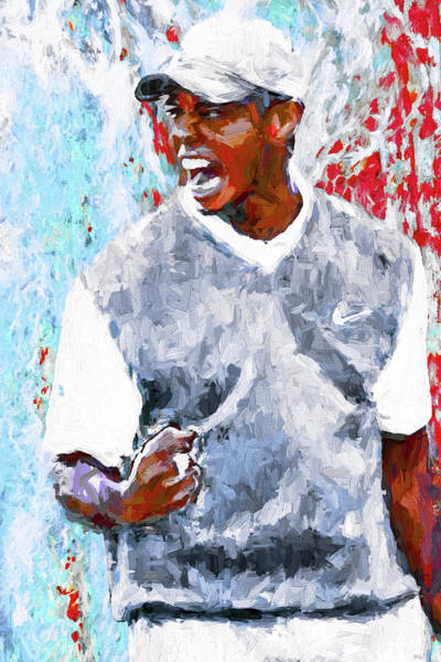 Tiger Woods One Two Red Painting Digital Poster
