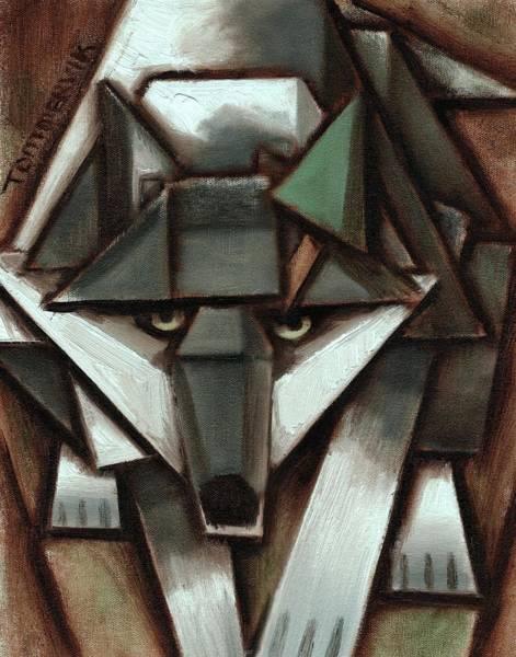 Tommervik Gray Wolf Tree Art Print Poster