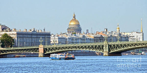 Tourist Boat On Neva River Poster