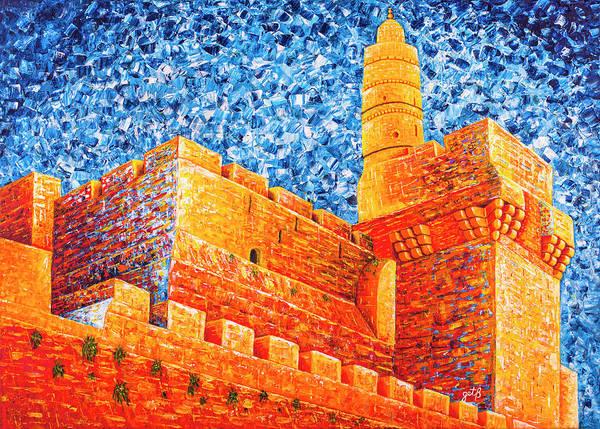 Tower Of David At Night Jerusalem Original Palette Knife Painting Poster