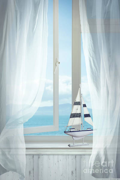 Toy Boat In Window Poster