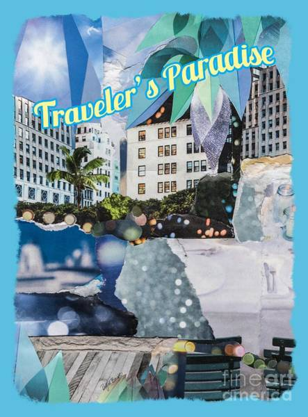 Traveler's Paradise - Torn Paper Graphic Art Collage Poster