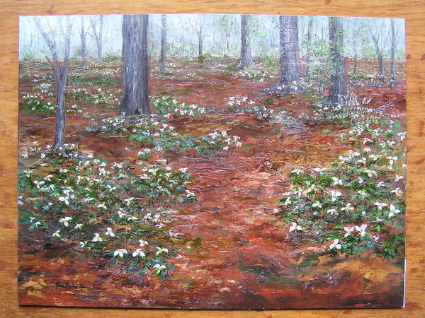 Poster featuring the painting Trilliums After The Rain by Jan Byington