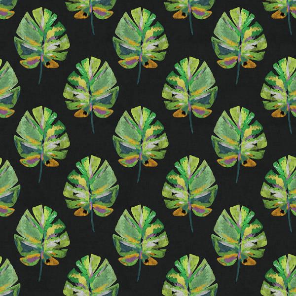 Tropical Leaves On Black- Art By Linda Woods Poster