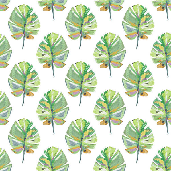 Tropical Leaves On White- Art By Linda Woods Poster