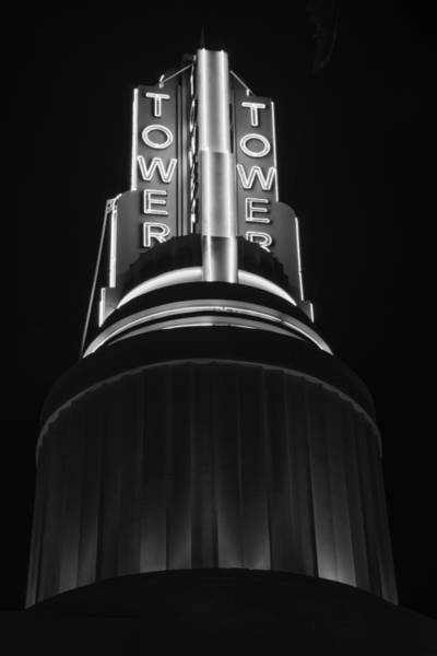 Ttower Theatre  Black And White Poster