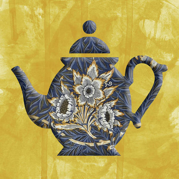 Tulips And Willow Pattern Teapot Poster