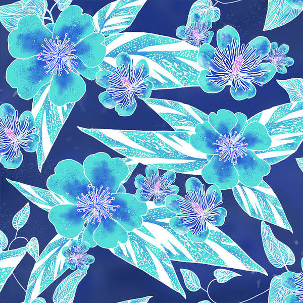 Turquoise Batik Tile 1- Camellia Poster