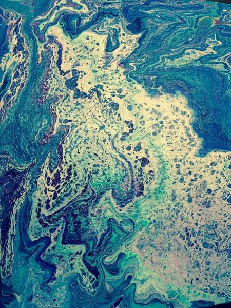 Turquoise Sea Foam Dance Poster