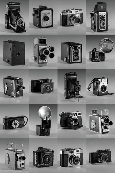 Twenty Old Cameras - Black And White Poster