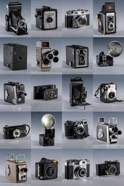 Twenty Old Cameras - Color Poster