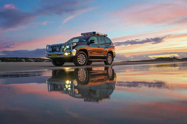 Twilight Beach Reflections And 4wd Car Poster