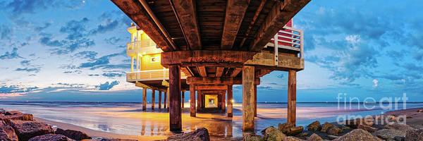 Twilight Panorama Of Galveston Fishing Pier - Texas Gulf Coast Poster