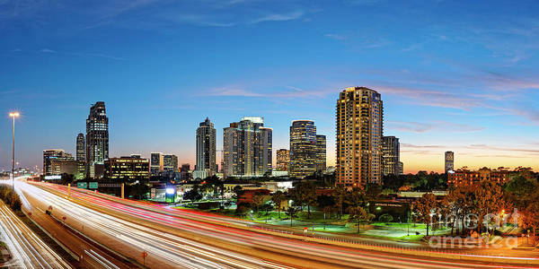 Twilight Panorama Of Uptown Houston Business District And Galleria Area Skyline Harris County Texas Poster