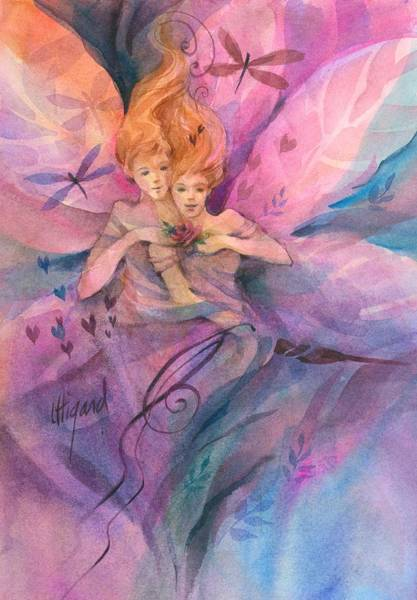 Poster featuring the painting Twin Fairies by Carolyn Utigard Thomas