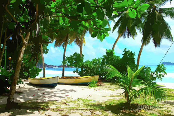 Two Boats On Tropical Beach Poster