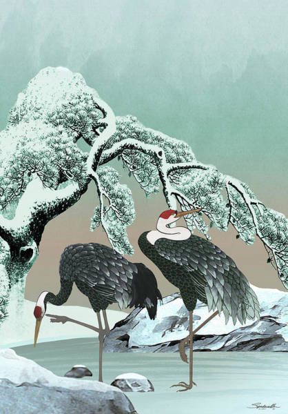 Two Cranes On Frozen Pond Poster