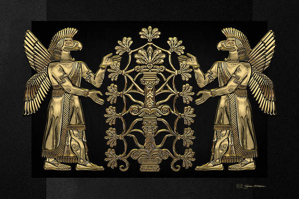 Two Instances Of Gold God Ninurta With Tree Of Life Over Black Canvas Poster