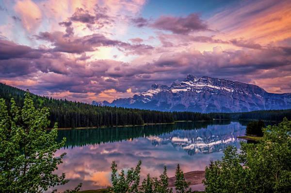 Two Jack Lake Sunset Poster