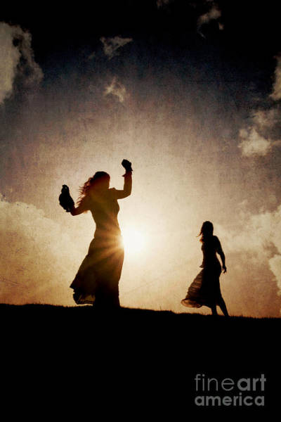 Two Women Dancing At Sunset Poster