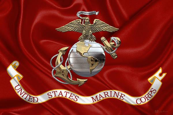 U. S.  Marine Corps - U S M C Eagle Globe And Anchor Over Corps Flag Poster