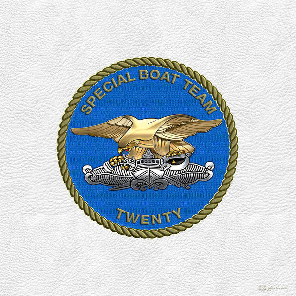 U. S. Navy S W C C - Special Boat Team 20   -  S B T 20   Patch Over White Leather Poster