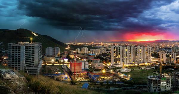Ulaanbaatar Sunset Thunderstorm Poster