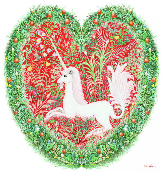 Unicorn Heart With Millefleurs Poster