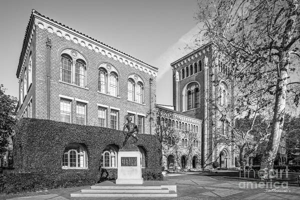 University Of Southern California Admin Bldg With Tommy Trojan Poster