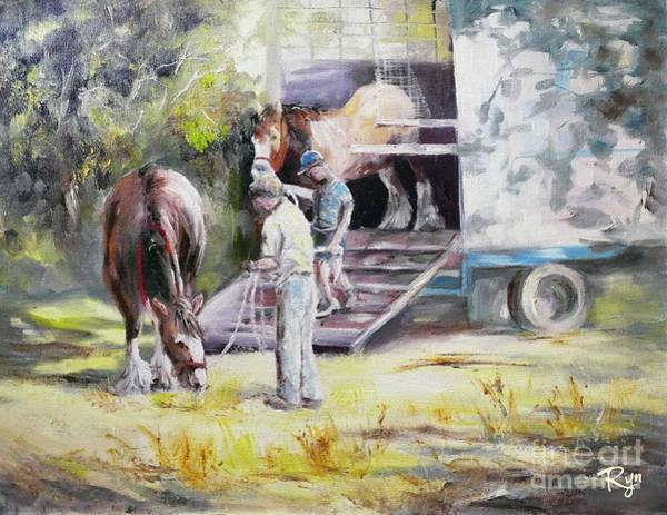 Unloading The Clydesdales Poster
