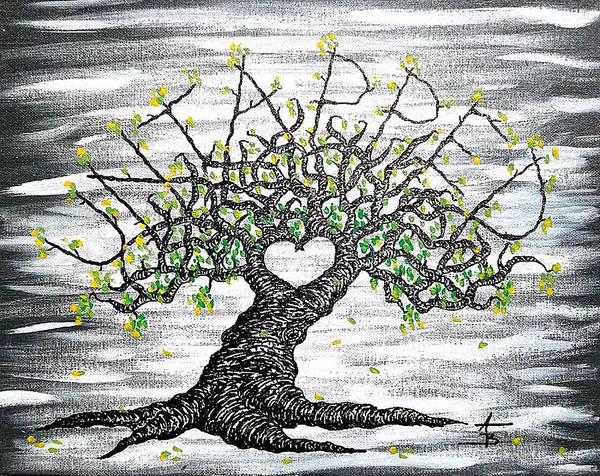 Poster featuring the drawing Untapped Love Tree by Aaron Bombalicki