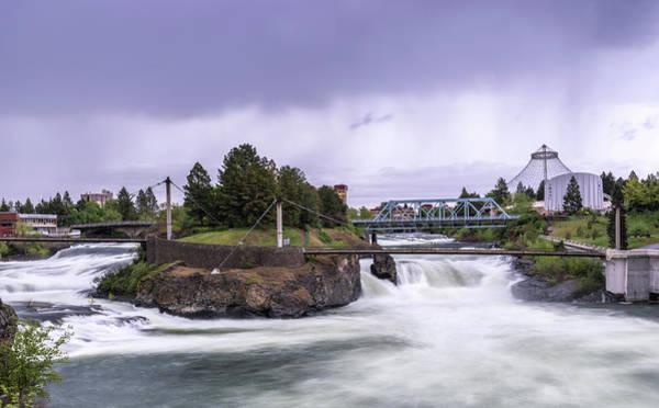 Upper Spokane Falls On A Rainy Day Poster