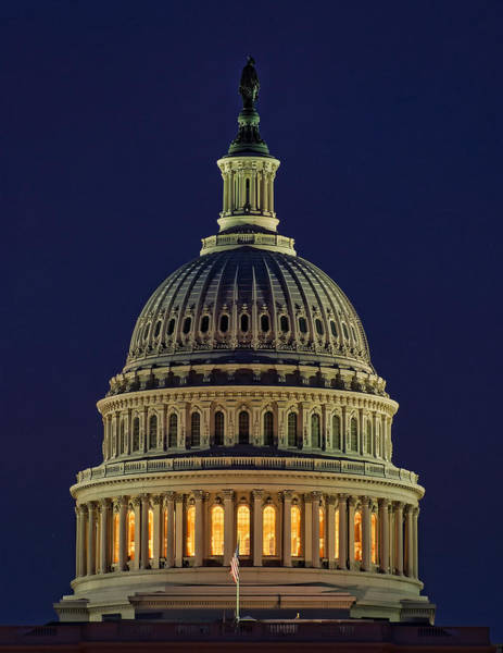 U.s. Capitol At Night Poster